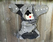 Upcycled Wool Nappy Cover Diaper Wrap Cloth Diaper Cover One Size Fits Most Black & Gray Argyle  With Baa Baa Sheep Applique/ Charcoal Gray