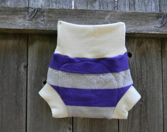 Upcycled Wool And Organic Merino Wool Interlock Soaker Cover Diaper Cover With Added Doubler Purple & Lavender Stripes  LARGE 12-24M