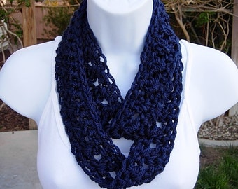 Solid Dark Navy Blue SUMMER SCARF Small Skinny Infinity Loop, Soft Crochet Knit Lacy Endless Circle, Narrow Cowl, Neck Tie, Ready to Ship