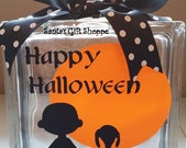 Halloween Decals - Charlie Brown Inspired-Glass Block Lettering-Fall/Autumn Harvest-Glass Block Crafts-6.5in.x 6.5in-Hostess Gift-Home Decor