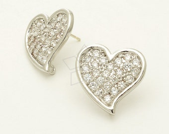 SI-253-OR / 2 Pcs - Bling-Bling Heart Earrings, Silver Plated, with .925 Sterling Silver Post / 8mm x 6.mm