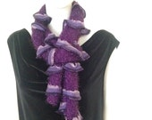 Scarf, hand knit, variegated, purple, wonderful, super soft and stylish, new lace fashion  spring and summer