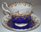 Royal Albert Regal Series cup and saucer - Blue - fine bone china England teacup