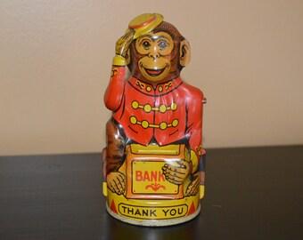 Vintage tin bank monkey  - Chein company - metal money bank Made in USA