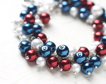Nautical Wedding Bridesmaids Jewelry, Pearl Cluster Bracelet - Navy Blue, Red and White Bracelet