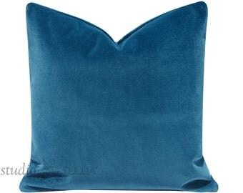 Velvet Pillow Cover - teal velvet - cyan blue - designer velvet - designer pillow - throw pillow - decorative pillow cover - ready to ship