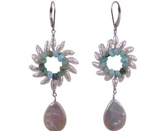 Sunburst Pearl Drop Earrings