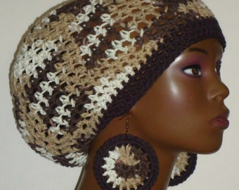SALE Espresso Crochet Berets Tams with Earrings by Razonda Lee Razondalee Ready to Ship