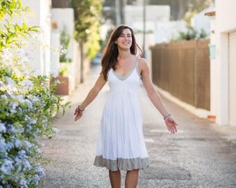 Linen Dress/ Short Linen Dress/ White with Natural Sand Trim/Natural Sand White / Summer Dress / Pure Linen / Crinkled Linen / Beach Wedding