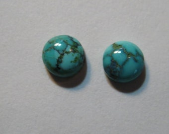 Natural Spider Web Turquoise cabs  ....  2 pieces ... Nevada ...... approx 5 mm   ..... B2790