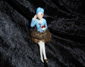 x ON HOLD Porcelain Half Doll and Legs with bullion lace skirt and gold shoes (FF052816-01L)