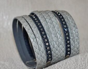 Multi Strand Gray Leather Cuff Bracelet, Snakeskin Embossed Leather, Rhinestone