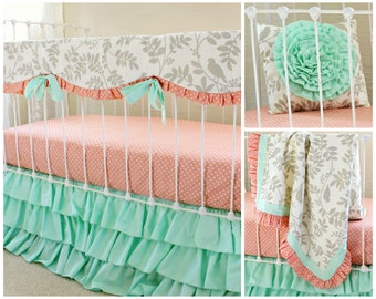 Mint Crib Bedding, Bumperless Baby Girl Bedding Set in Mint and Coral with Gray Floral, Teething Rail Cover, Crib Sheet, Mint Ruffle Skirt