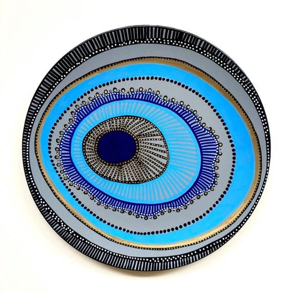 Decorative Plate Evil Eye Wall Decor Original Hand-painted
