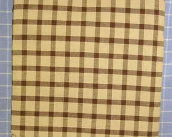 Windowpane Check Coco Brown Homespun Fabric --- Sewing Supplies