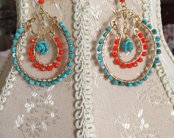 Turquoise and orange earrings
