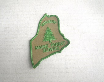 1960s Maine Forest Service Shoulder Patch Tree Nursery Embroidered Green and Tan