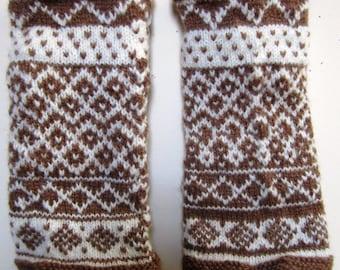 Wristlets Shetland Victorian Arm Warmers Muffatees Knit Wool Civil War Reenactor Tan White - Size Medium