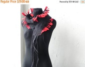 ON SALE Felt scarf, felted scarf, red gray colors, original accessory, Great gift idea, gift for mother, gift for sister