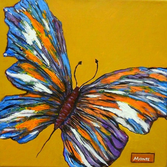 Aceo Original Palette Knife Butterfly Painting Mounted On