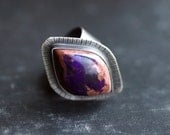 Purple Sugilite Gemstone in Sterling Silver Statement Ring - Size 8.5