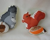 ORGANIC FABRIC DIY Sew-Your-Own Squirrel Stuffed Animal/Mini Pillow (Red Squirrel or Grey Squirrel)