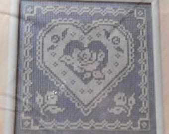 Lacy Heart 1989 Vintage Creative Circle Tapestry Mesh Embroidery Craft Kit New/Old in Pkg