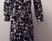 Sale Valentines 1970s Shirt/Coat Dress, Polyester, Black and White Floral, Hand Made, Size Medium/Large, #51537