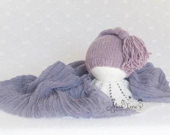 Lavender Newborn Girl Photo Prop set, Newborn Tassel Hat, Purple Newborn Cheesecloth Wrap, Newborn Wrap & Hat Set, Newborn Photography Props