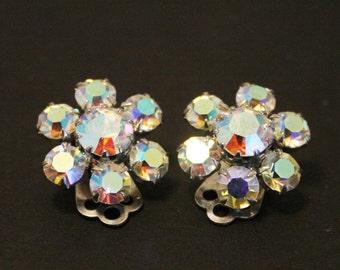 Vintage open back crystal earrings.  Clip on earrings. Aurora borealis earrings