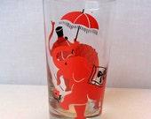 Libbey Beverage Glass / Pink Elephants / Unusual / Vintage