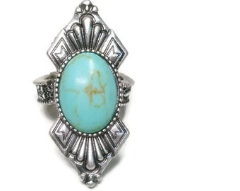 Turquoise Ring - Southwest - Long - Adjustable Ring - Country Western - Cowgirl - Statement - Boho - Turquoise Jewelry