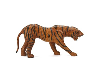 vintage leather tiger figurine