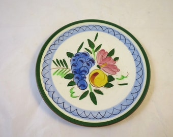 Vintage Stangl Fruit Flower Plate Hand Carved Painted Trenton NJ  Stangl Pottery 6 inch Dessert Bread Plate Grapes Peach Flower 1958 to 1975