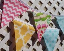 Birthday Banner, Kumari Garden, Baby Girl Nursery Decor, Shower Banner, Garland, Teal, Hot Pink, Yellow, Turquoise, Bright Floral Birthday