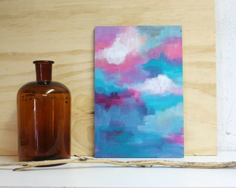 Moods abstract painting on small wooden panel - original - pink and turquoise colours