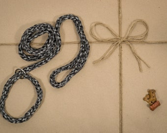 Dog Leash and Collar Combo, paracord, black and grey