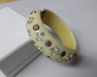 Weiss Celluloid Cream and Rhinestone Hinged Cuff Bracelet