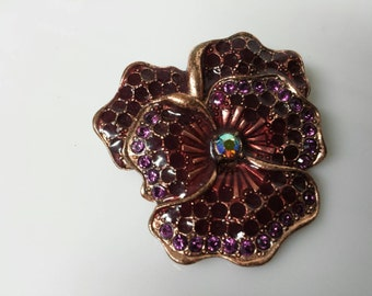 1928 Jewelry Company Pansy  Amethyst Copper  Victorian Brooch