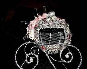 Princess Carriage Centerpiece card holder box , Fairytale wedding card  holder,  coach