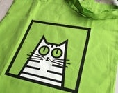 SECONDS SALE - Hand-printed Cat Tote Bag - Screen Printed Green Cotton Bag Featuring Holly