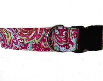 Paisley Dog Collar, Wide Dog Collar, Dog Tag Collar, Greyhound Tag Collar, Side Release Dog Collar, Pink Dog Collar, Pink Tag Collar