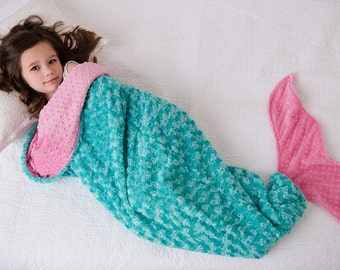 Mermaid Tail- Mermaid Tail Blanket- Minky Mermaid Blanket- Mermaid Sleep Sack- Teal Pink Aqua Bedding- Ships out in 2-5 Days