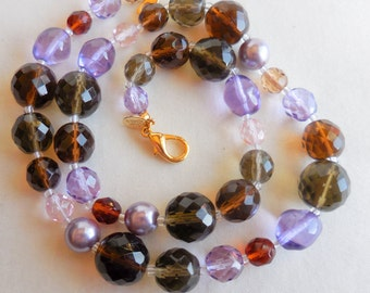 Signed JOAN RIVERS Lavender Grey Amber Glass Bead Necklace