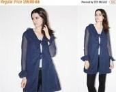 SALE 65% OFF ends 02/16 60s Navy Blue Ruffle Jacket  - Vintage 1960s Mod Jacket  - The   Embellished Jacket   - 8073