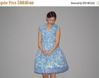 70% Off FINAL SALE - Vintage 1950s Blue Lace Rose Cupcake Wedding Floral Dress  - Vintage  Party Dress - Vintage 50s Lace Dresses  - WD0656