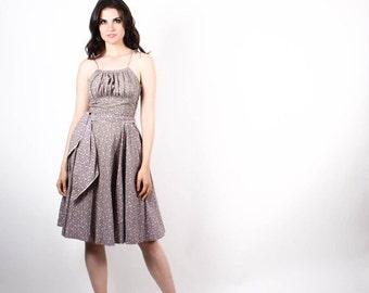 70% Off FINAL SALE - 1950s Floral Cotton Dress  - 50s Floral Cotton Dresses - Vintage Cotton Dress  - The Anya Dress - 6507
