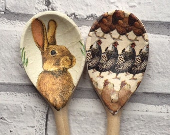 Decorative Decoupage Wooden Spoons using Emma Bridgewater Hens & March Hare. FREE Shipping to all UK Addresses