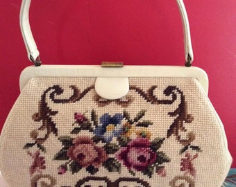 Vintage 1950s Handbag Purse Needlepoint Roses Floral Leather Beautiful