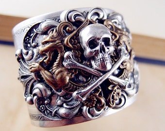 Iron Shackle of Hades No.2-- Brother dragons and cross boned skull sterling silver plated sturdy cuff/bangle N004